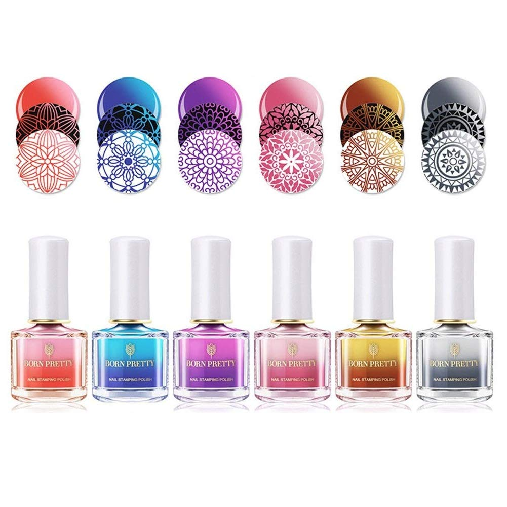 Born Pretty 6ml Nail Art Thermal Stamping Polish Color Changing Manicure Plate Printing Lacquer Varnish 6 Colors #1-#6