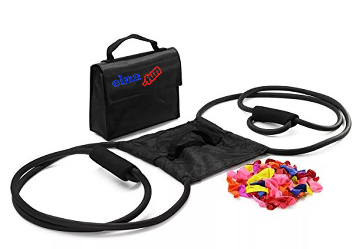 elna-fun Wasserbombenschleuder BLACK EDITION bis zu 275m Reichweite incl. 150 Wasserbomben elna-shop