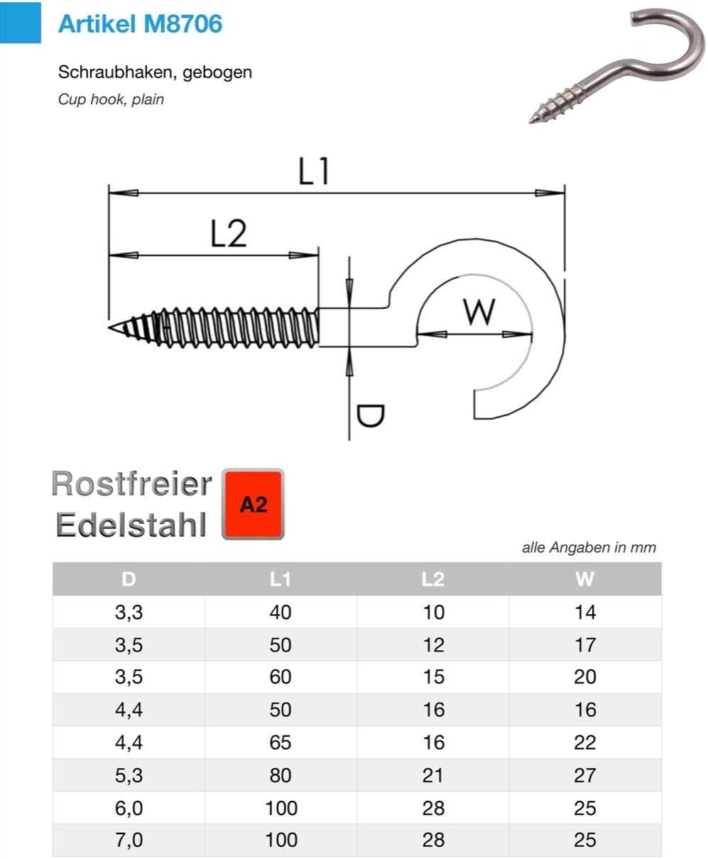 10 St/ück 3.3 x 40 mm Schraubhaken Edelstahl V2A Inox Hakenschrauben Holzgewinde W/äscheleine