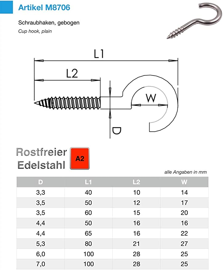 5 St/ück 4.4 x 50 mm Schraubhaken Edelstahl V2A Inox Hakenschrauben Holzgewinde W/äscheleine