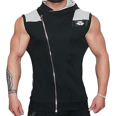 Amazon.com: EU Men's Fitness Workout Gym Sleeveless Hoodie ...
