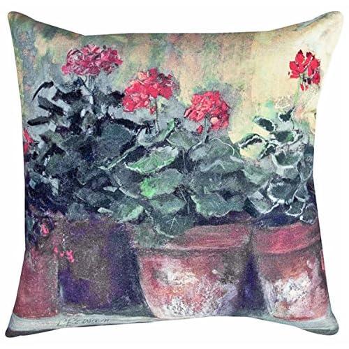 "Hot KensingtonRow Home Collection Decorative Pillows - Red Geraniums Pillow - Indoor Outdoor Pillow - 18"" Square"