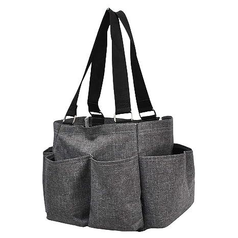 03ed158f7184 Grey Crosshatch NGIL Small Zippered Caddy Organizer Tote Bag