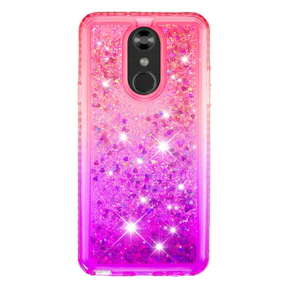 LG Stylo 4 Case, Clear Liquid Glitter Case Color-Gradient Bling Shiny Glitter Sparkle Flowing Moving Hearts Diamonds Frame Ultral Slim Shock Absorbtion TPU Bumper Shell Cover for LG Q Stylus - Pink by KASOS (Image #3)