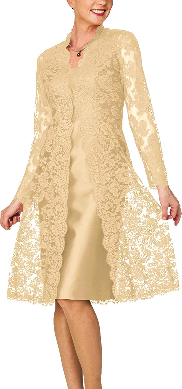 Champagne color H.S.D Women's Sheath Short Satin Mother of The Bride Dress with Lace Jacket