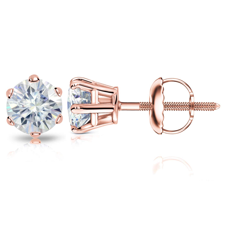 Diamond Wish 14k Rose Gold Round Moissanite Stud Earrings (1.00 TGW, 5mm, J-K) 6-Prong Setting with Screw-Back Clasps