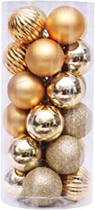 UNBRUVO 24PCS Christmas Ball Baubles Party Xmas Tree Decorations Hanging Ornament Decor for Christmas Tree Decoration, Holiday Wedding Party Decoration (Gold, 24PCS)