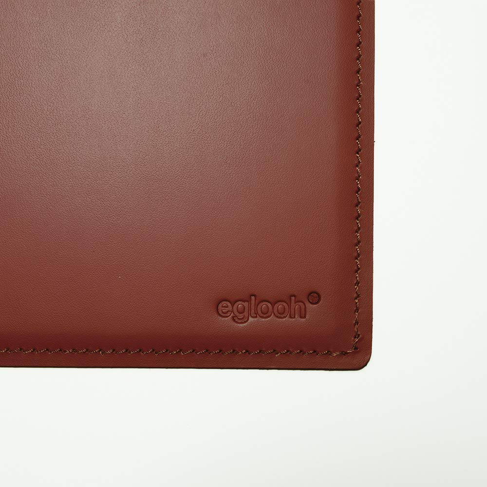 Eglooh Mercurio Made in Italy Cuciture Artigianali e Fondo Antiscivolo cm 80x50 Sottomano Scrivania Ufficio in Cuoio Arancione Marrone Naturale