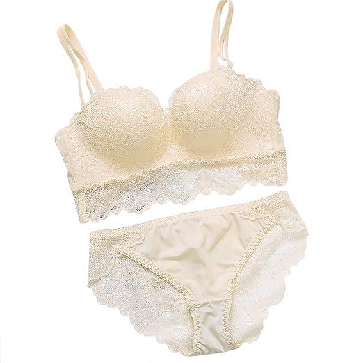 cf5bef44e439 Women's Push up Bra Set Underwear Transparent lace Cotton Bra and Panties  Set Beige