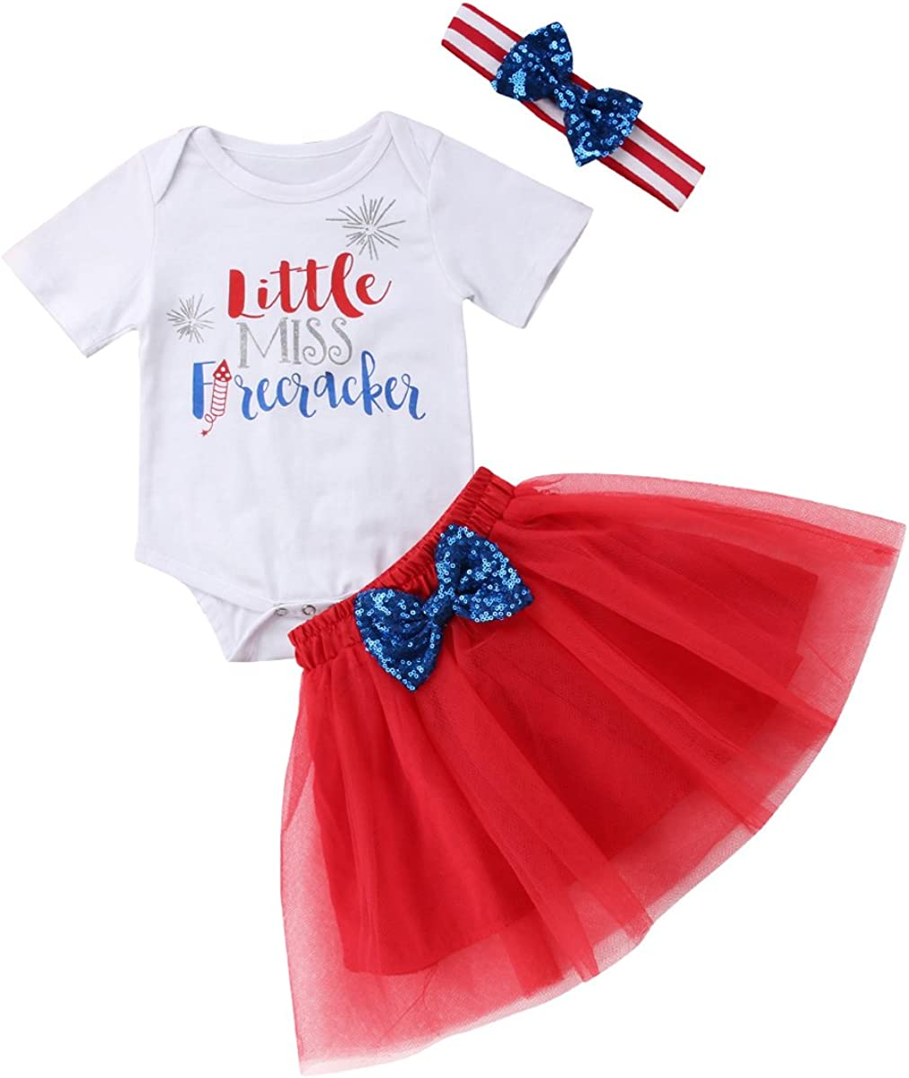 Toddler Baby Girls 4th of July Independence Day T-Shirt Top Tutu Skirt Set Outfits with Headband