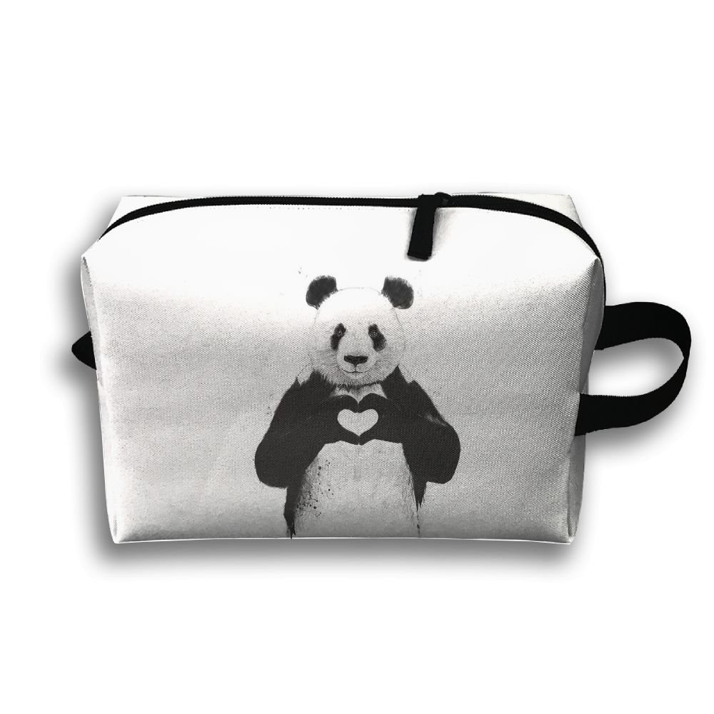 a26119e9e7 durable service LEIJGS Hand Love Giant Panda Small Travel Toiletry Bag  Super Light Toiletry Organizer For
