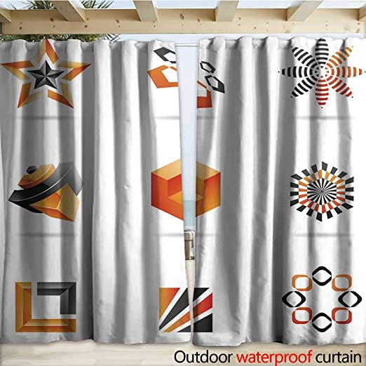 warmfamily - Cortinas Impermeables para Puerta corredera, diseño Abstracto geométrico, Fondo Vertical, Color Negro, 108 x 96 cm: Amazon.es: Jardín