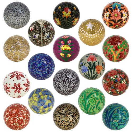 Christmas Tree Hanging Ornaments Handmade Paper Mache Balls 3 Inch Set of ()