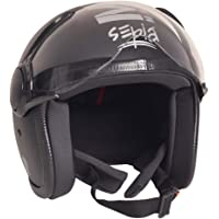 Sepia Muscle Rider Open Face Helmet (Matt Black, M)