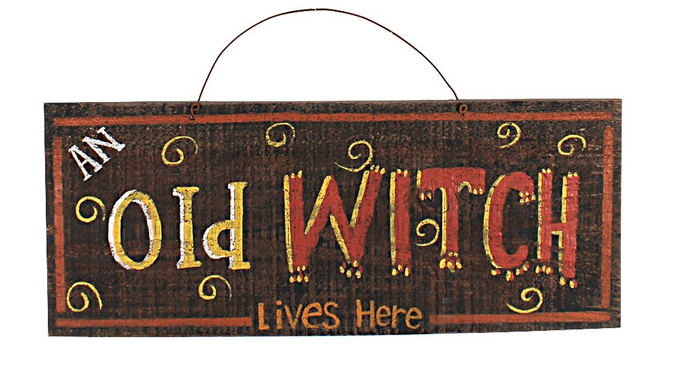 YK Decor Halloween Old Witch Mischief plaque