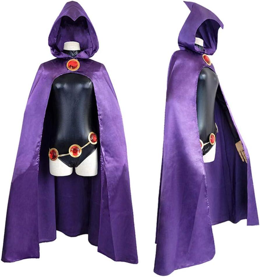 Teen Titans Raven Cosplay Disfraz Superhéroe Capa Monos Zentai Halloween