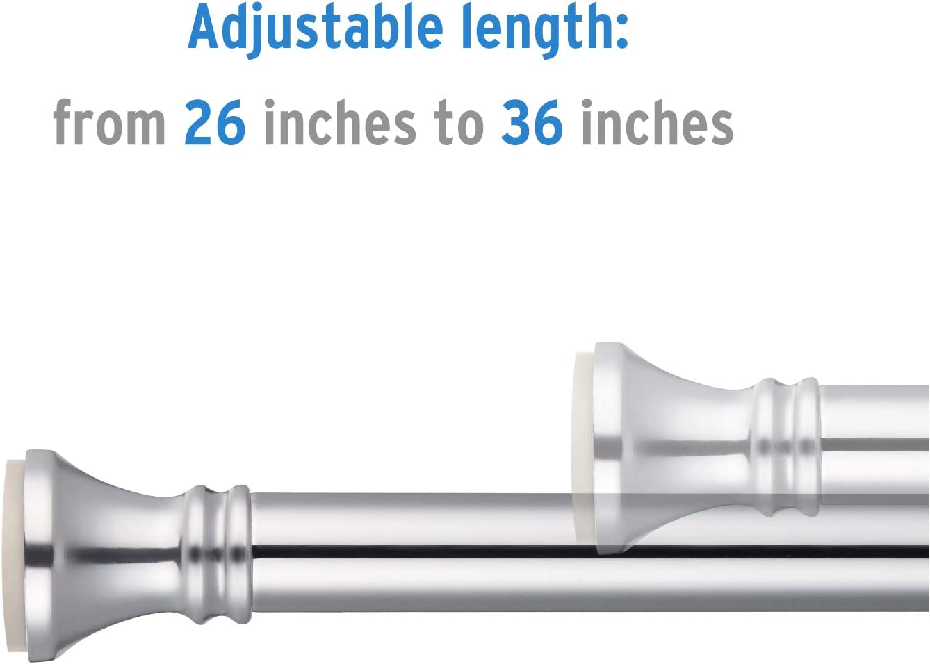 Nickel 26-42 Inches Rust-Resistance Doorway Curtain Rod Small Curtain Rod Amazer Spring Tension Curtain Rod