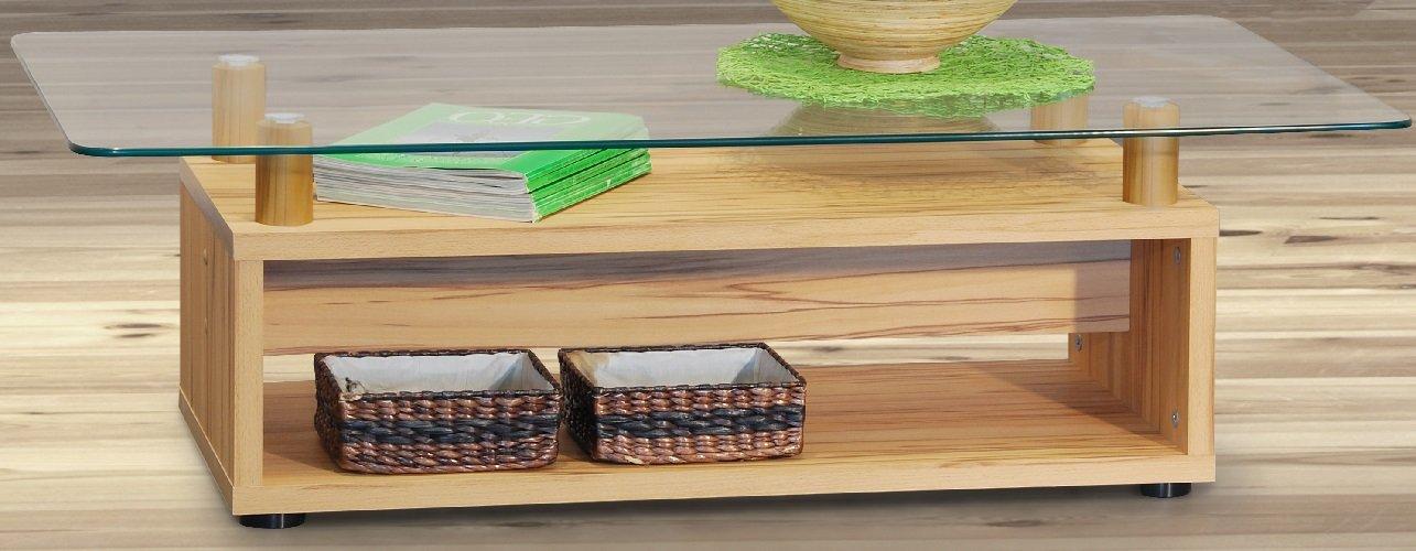 3 1229 Schner Design Couchtisch Sofatisch Kernbuche Glas Wohnzimmertisch Glastisch Amazonde Kche Haushalt