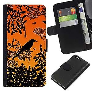 Apple iPhone 5C , la tarjeta de Crédito Slots PU Funda de cuero Monedero caso cubierta de piel ( Bird Tree Branch Rainforest Sunset Sitting)