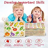 8PACK Wooden Peg Puzzles for Toddlers 1 2 3 Year