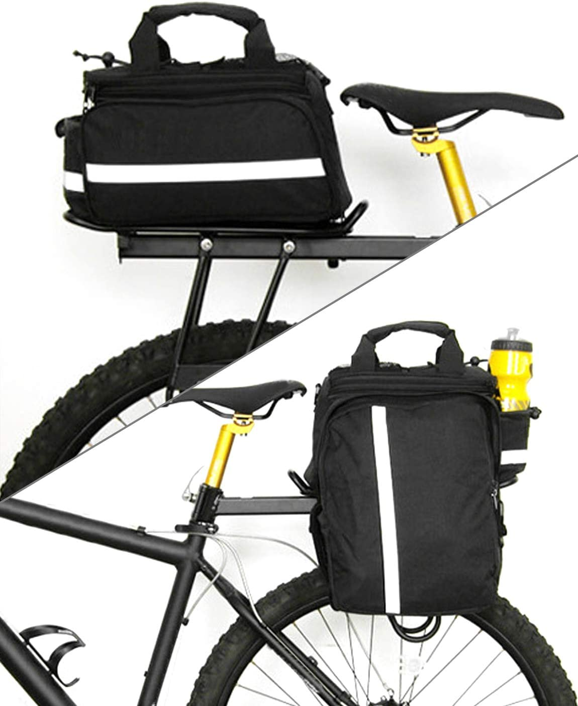 Flytise Borsa Posteriore per Bicicletta Borsa Multifunzione Impermeabile MTB per Bicicletta Borsa per Bici Portapacchi con Copertura Antipioggia