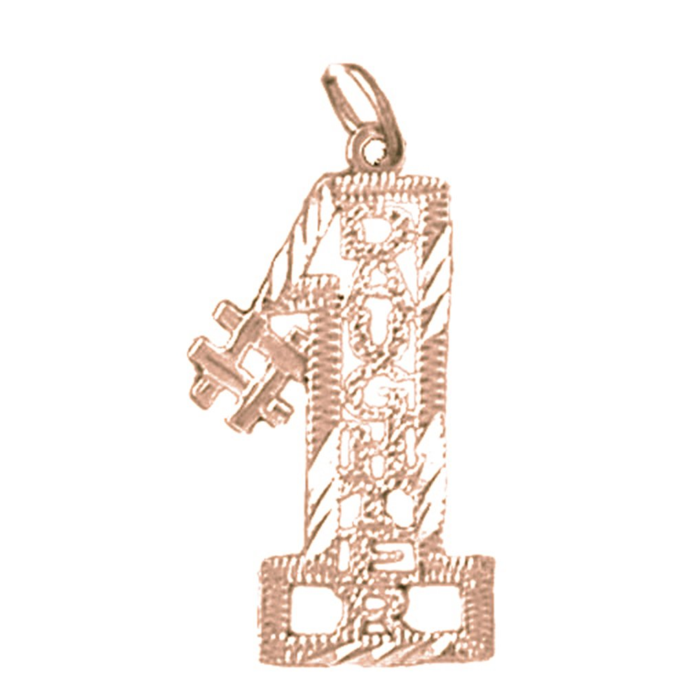 Rose Gold-plated Silver 27mm #1 Daughter Pendant