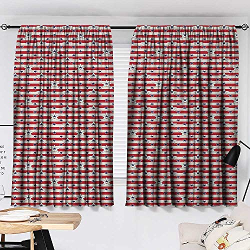 Jinguizi 4th of July Curtain for Kids Room Stripes with Stars Freedom and Liberty of The USA National Holiday Party Darkening Curtains Royal Blue Biege Red W55 x L39 by Jinguizi (Image #1)