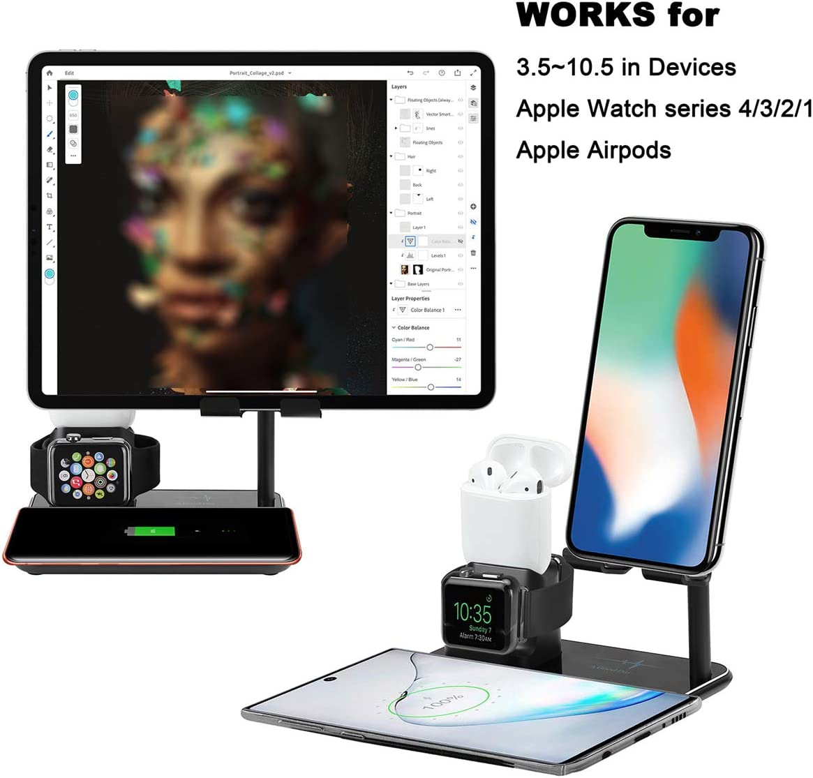 for iPhone IWatch and Airpods Wireless Charger Stand for iPhone 11//11 Pro//11 Pro Max//XS,Airpods//IWatch 5//4//3//2//1 Quick Life 4 in 1 Fast Charging Station Dock