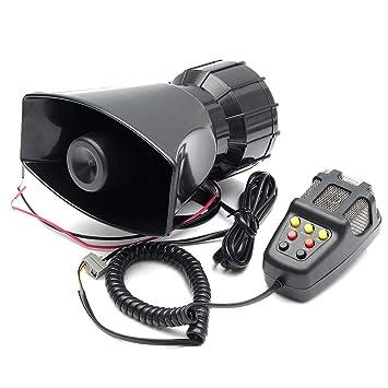 censhaorme 100W 12V 7 Sonidos del Altavoz del Coche camión de Alarma de Advertencia Policía Bomberos Sirena 105db Cuerno Fuerte Sonido con micrófono ...