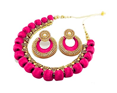 7519eb52a53 thread trends Pink Silk Thread Wood Necklace Jewellery with Chandbali  Earrings Set for Women
