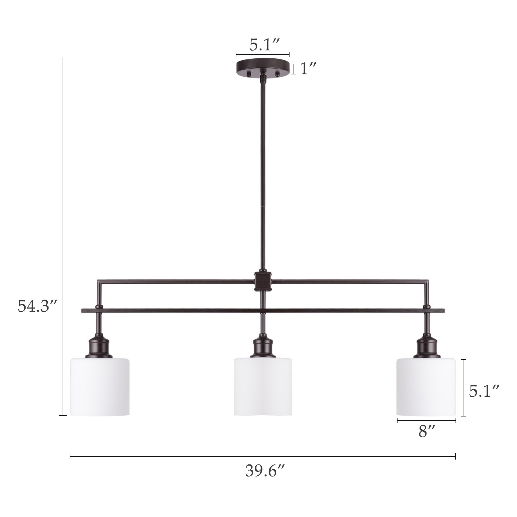 CO-Z Oil Rubbed Bronze Kitchen Island Lighting, 3-Light Linear Pendant Island Chandelier for Billiard Pool Table Dining Room Counter Foyer, Modern Hanging Ceiling Light Fixture with Opal Glass Shade by CO-Z (Image #7)