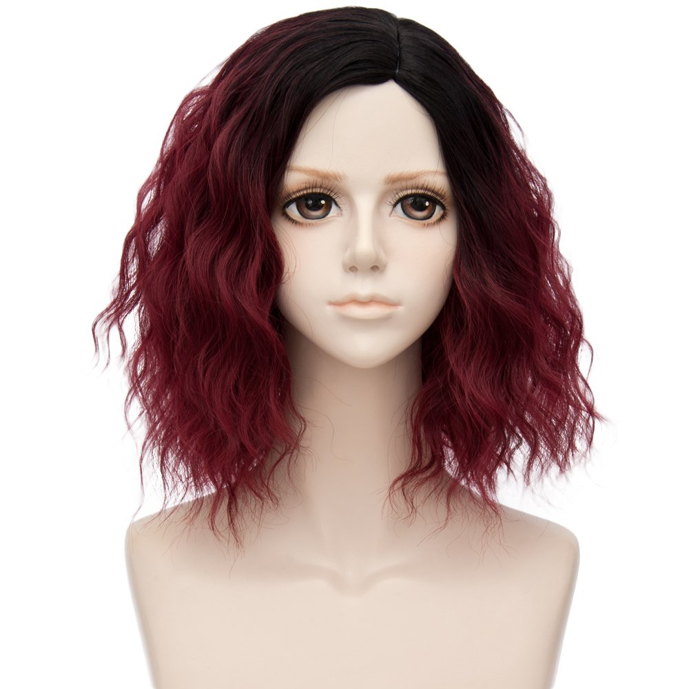 Alacos 35cm Fashion Black Dark Roots Ombre Short Curly Bob Christmas Daily Costumes Wig for Women +Wig Cap (Burgundy Wine Red)