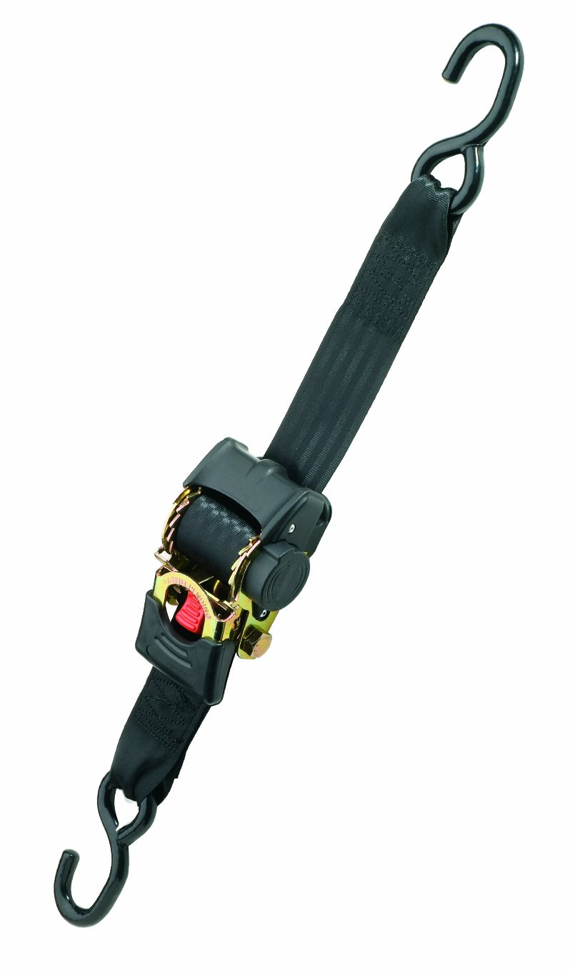Highland (1154000) 10' Black Retractable Ratchet Tie Down with Hooks - 1 piece