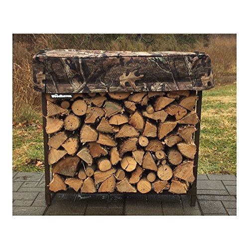 QBC Bundled Woodhaven Firewood Rack - 36-WRC-CAMO - 3ft Mossy Oak Camo Firewood Rack - Black - (3ft x 3ft x 10in) with Mossy Oak Cover - Plus Free QBC Firewood Rack eGuide