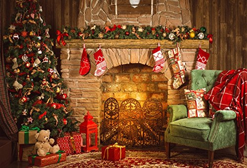 Yeele 10x8ft Christmas Backdrop for Photography - Photo Background - Xmas Gifts Tree Fireplace Stocking Bear Lantern Chair Backdrop Party Banner Child Kid Adult Portrait Shooting Studio Props