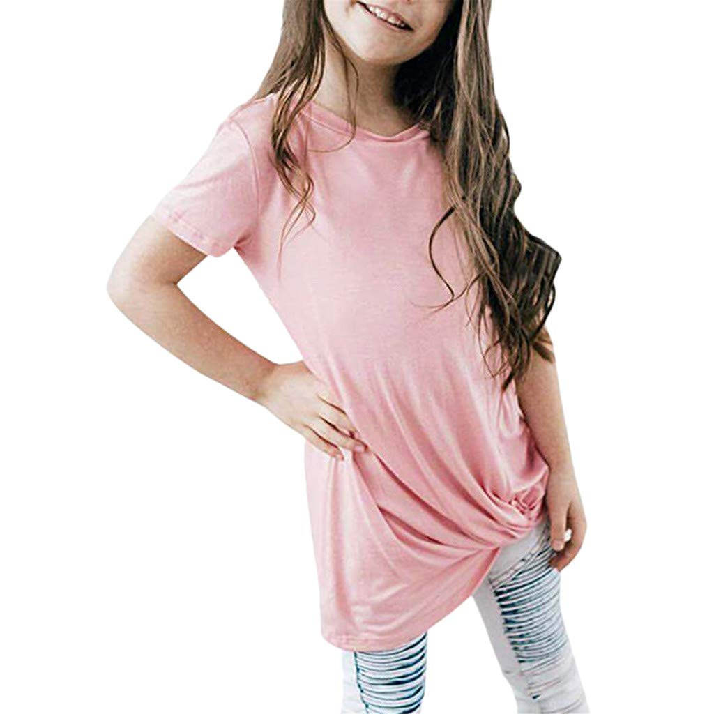 Fineser Girls Clothing Casual Short Sleeve Summer Tops Little Girls Knot Front Fashion Tee Shirts Size 6-14 Years Pink,Black (Pink, 6-7 Years(S))