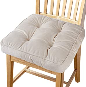 """Big Hippo Chair Pads Square Cotton Chair Cushion with Ties Soft Thicken Seat Pads Cushion Pillow for Office,Home or Car Sitting 17"""" x 17""""(Beige)"""
