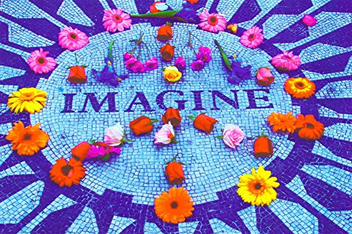 Imagine (John Lennon Memorial) Non-Flocked Blacklight Music Poster Print - 24x36 Blacklight Poster Print, 36x24