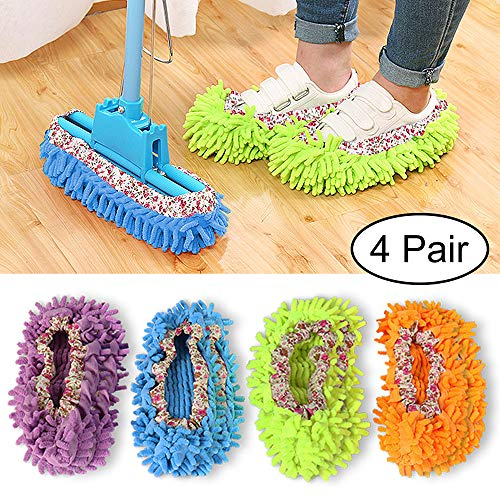 Phoenixes Mop Slippers Shoes Cover, Washable Dust Mop Slippers, Floor Cleaning Shoes for Office, Home, Kitchen (4 Pairs)