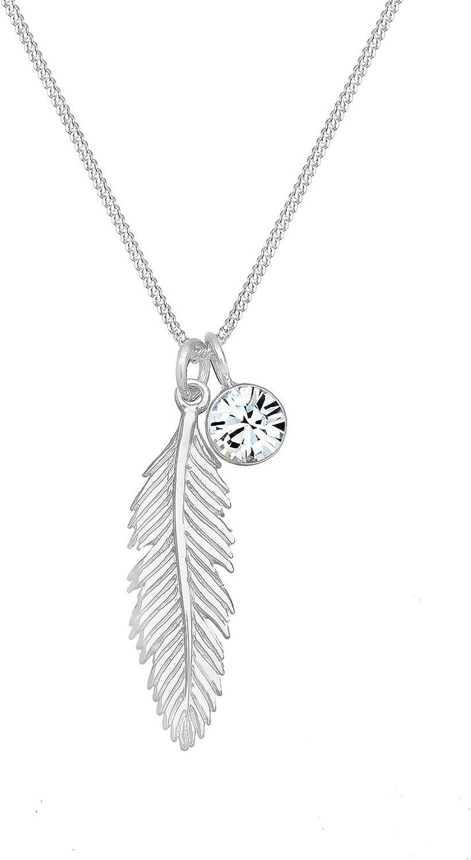 Elli Collares colgante boho de plumas para mujer, con cristal Swarovski® en plata de ley 925