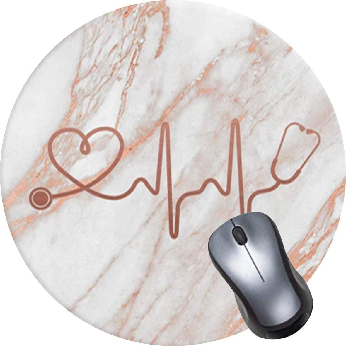 OTCEO Mouse Pad Non-Slip Rubber Base Mousepad,Waterproof Office Mouse Pad Small Size-Rose Gold Marble Heart White Cute Mouse Pad with Design Round Mandala Mouse Mat