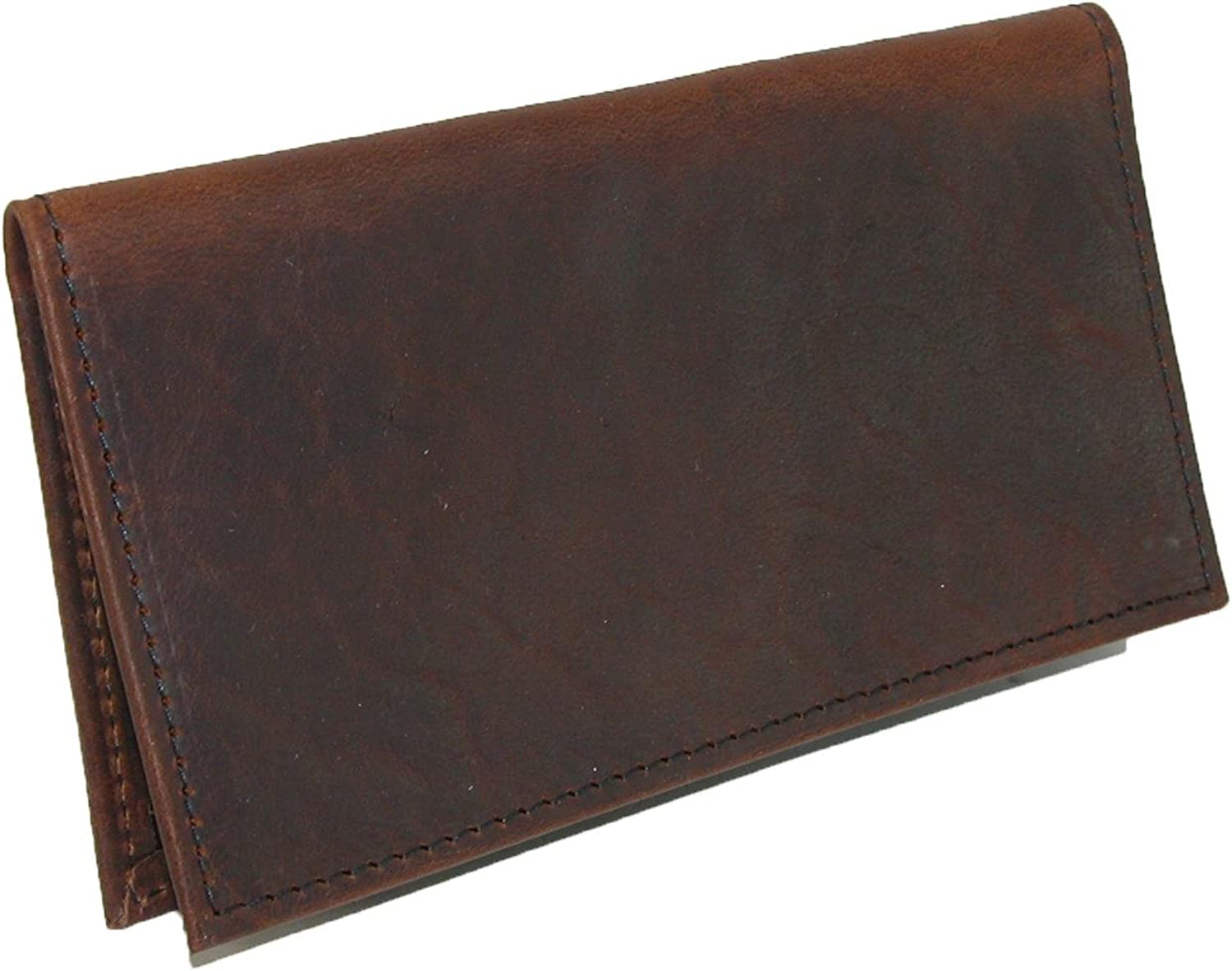 Boston Leather Unisex Textured Bison Leather Checkbook Cover, Check Book Protection Dark Pecan at  Women's Clothing store