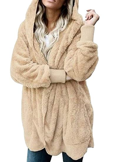 bd689514e1727 Amazon.com  Cromoncent Womens Warm Thicken Sherpa Outwear Hoodie Cardigan  Winter Pea Coat  Clothing