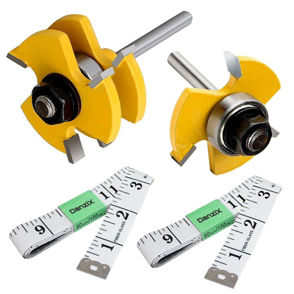 DanziX Tongue and Groove Router Bit Set of 2, Wood Door Flooring 3-Teeth T-Shape Adjustable, 1/4 Inch Shank Woodworking Milling Saw Cutter Tool + 2PCS 5FT Soft Tape Measure Ruler for Sewing Tailor by DanziX (Image #1)