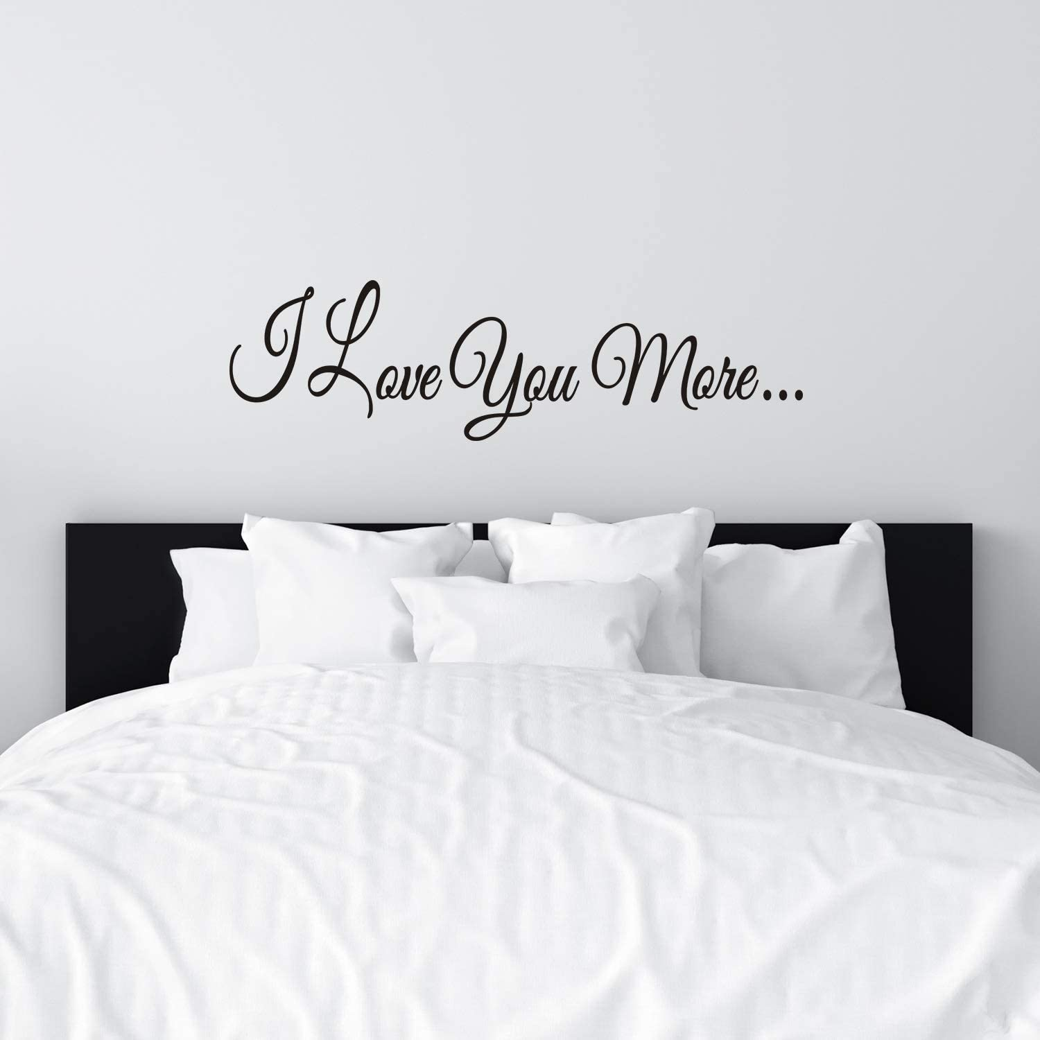 VODOE Wall Decals for Women, Bedroom Wall Decals, Inspirational Quotes Family Bathroom Church Wedding Marriage Romantic Couple Life Sayings Poster Home Art Decor Vinyl Sticker I Love You More 25