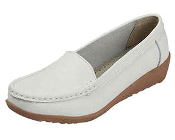 Mine Tom Mujeres Niñas Verano Punta Redonda Zapatos Ocio Negocio Zapatos Zapatillas De Mocasín Blanco 34