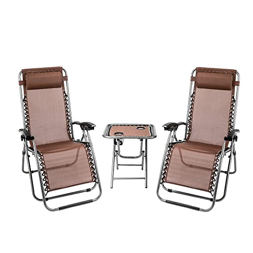 Teeker 3PCS Outdoor Lounge Folding Reclining Chair,Reclining Patio Lawn Chair,Camping Chairs Zero Gravity w Portable Cup Holder Table and Removable Pillows Brown