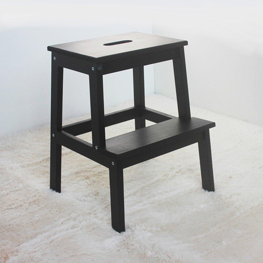 PENGFEI 折りたたみステップ ラダースツールステップ 無垢材 多機能 ポータブルホール付き シューズの交換 キッチン 2ステップ 8色 40x50CM 脚立 踏み台ステップ チェア (色 : ブラック) B079BR8QYK ブラック ブラック