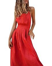 Vestidos Mujer Casual 2019-Ronamick Vestido de la Vendimia de la Impresión vestido largo verano mujer (rojo,XL) Mujer Verano 2019