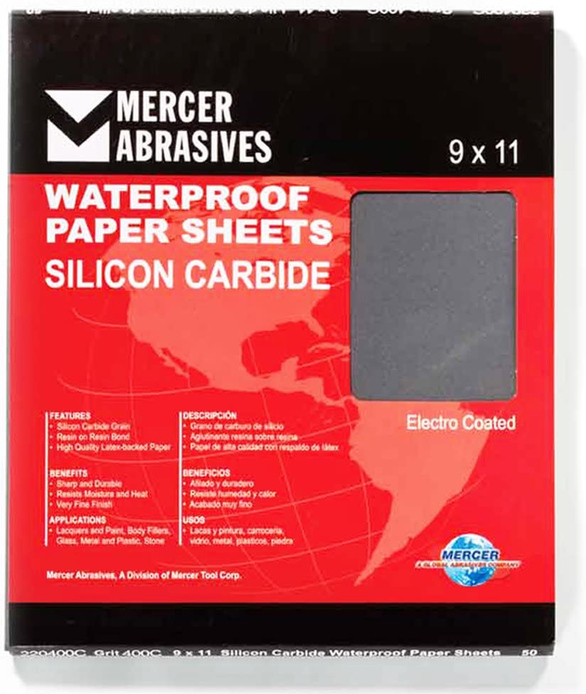 50-Pack Mercer Industries 220180C Grit 180 C-Weight 9 x 11 Silicon Carbide Waterproof Paper Sheets